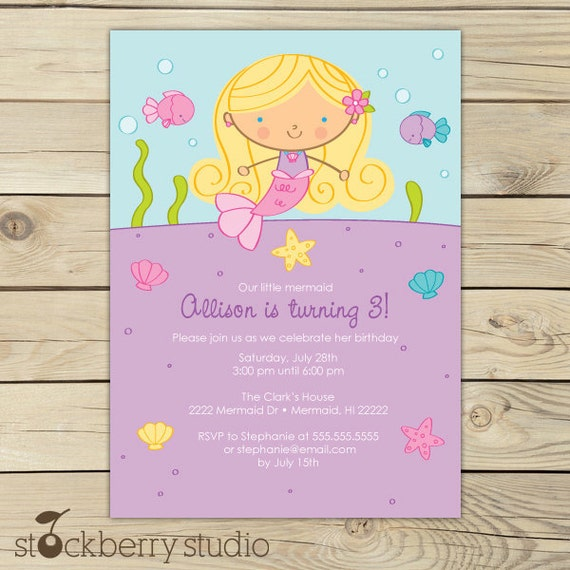 Mermaid Birthday Invitation Printable