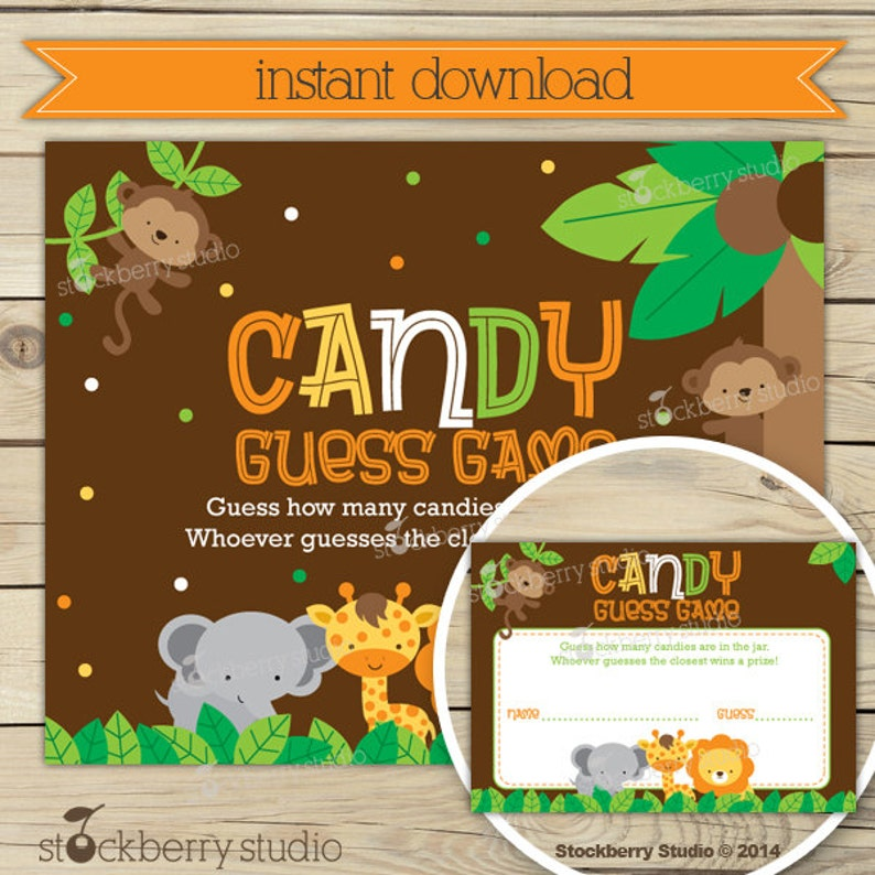 Safari Baby Shower Candy Guessing Game  Jungle Baby Shower image 0