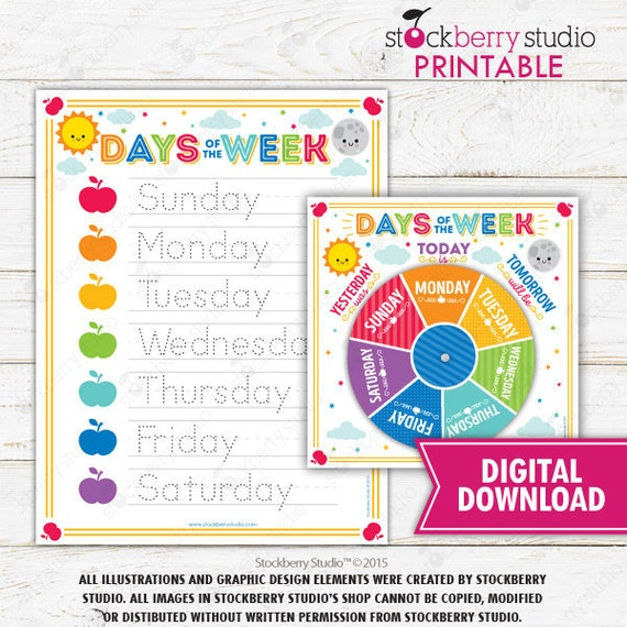 Days Of The Week Montessori Printables Homeschool Printable Etsy