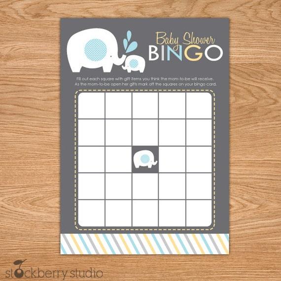 Boy Elephant Baby Shower Bingo Game Gray Blue Yellow Etsy