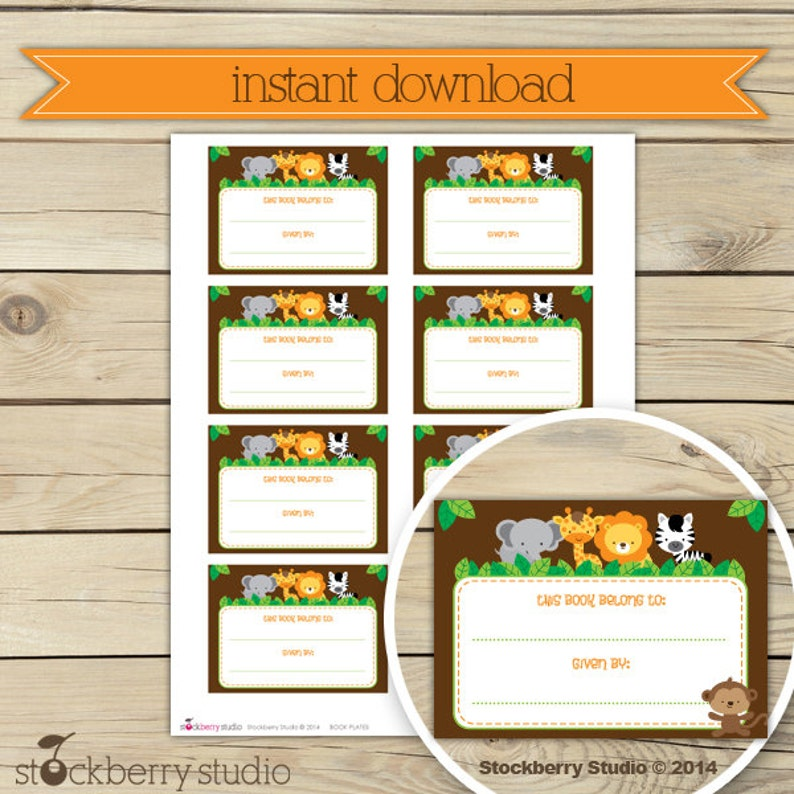 Safari Baby Shower Book Plates Label Printable  Instant image 0