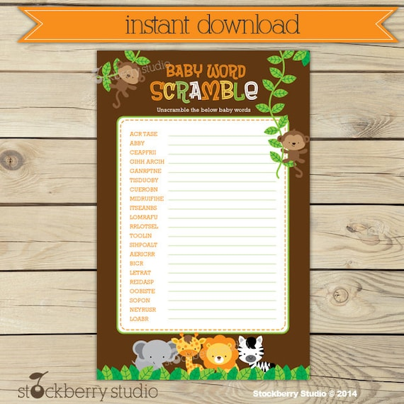 Safari Baby Shower Word Scramble Game Printable Instant Download Baby Shower Activities Jungle Animals Party Games