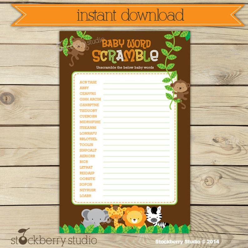 Safari Baby Shower Word Scramble Game Printable  Instant image 0