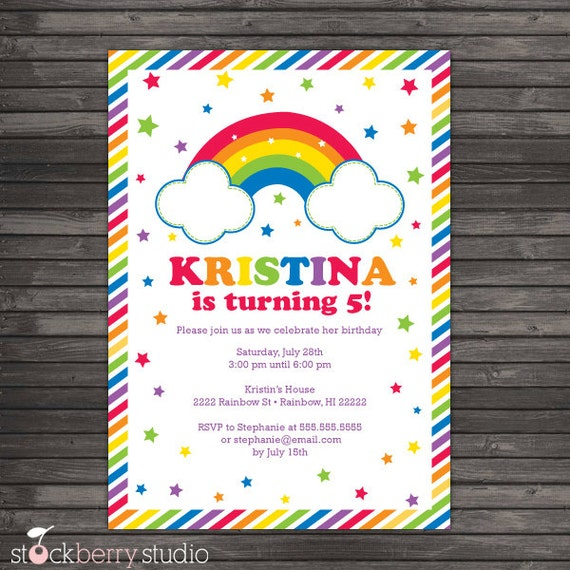 Rainbow Birthday Party Invitations 1st