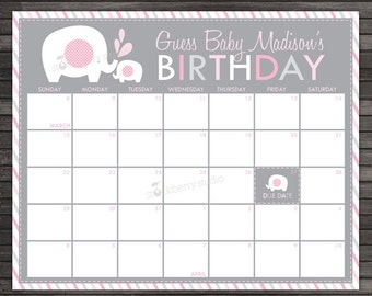 Girl Elephant Baby Shower Guess the Due Date Calendar - Pink and Gray Baby Shower Game Printable - Birthday Prediction Calendar Shower Games