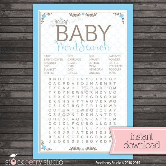 Prince Baby Shower Baby Word Search Boy Baby Shower Games