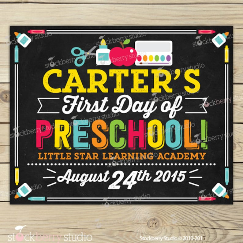 First Day of Preschool Sign Printable  1st Day of Preschool Pic1: Carter-Primary