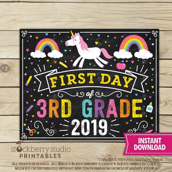 graphic about First Day of 3rd Grade Sign Printable referred to as Unicorn Initially Working day of 3rd Quality Indicator - Lady Initial Working day of College or university Indicator Printable - Quick Down load - Rainbow 1st Working day 3rd Quality Signal