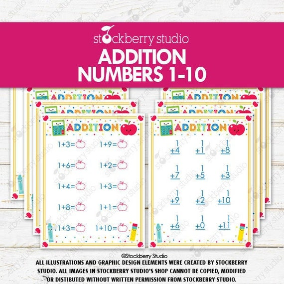 Addition Worksheets Printable 1st Grade Kindergarten Math Numbers 1-10  Preschool By Stockberry Studio Catch My Party