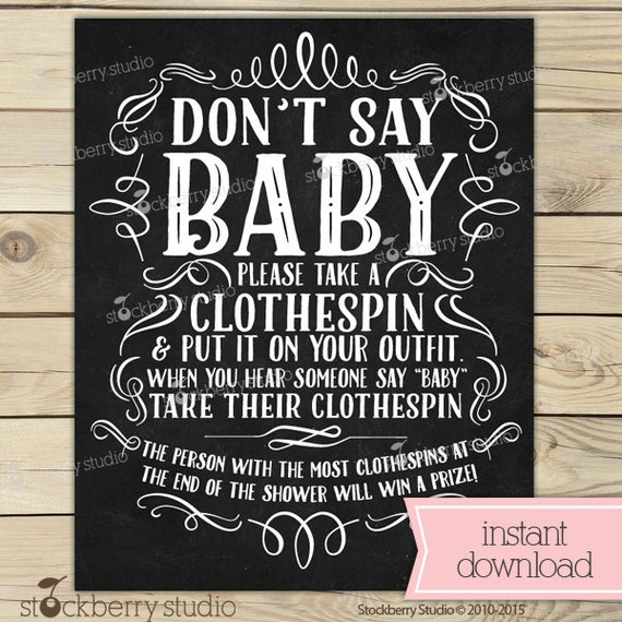 image regarding Don T Say Baby Game Printable named Chalkboard Little one Shower Dont Say Boy or girl Activity Printable