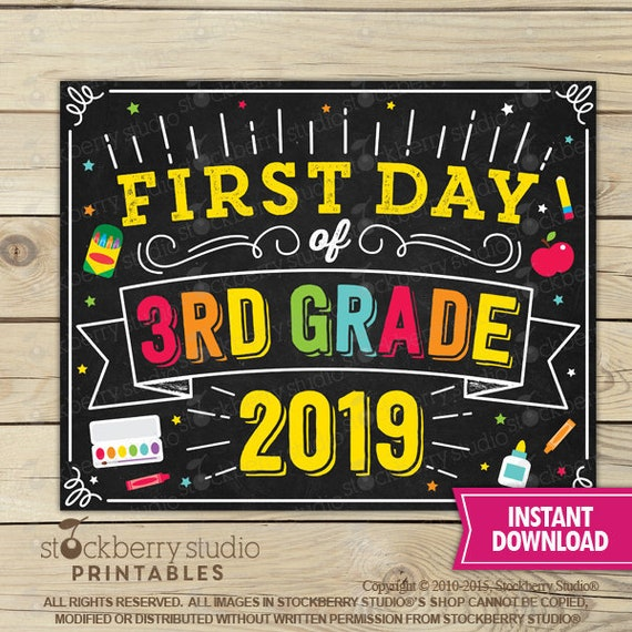 picture regarding First Day of 3rd Grade Sign Printable titled Initially Working day of 3rd Quality Signal - Again toward Higher education - 1st Working day of