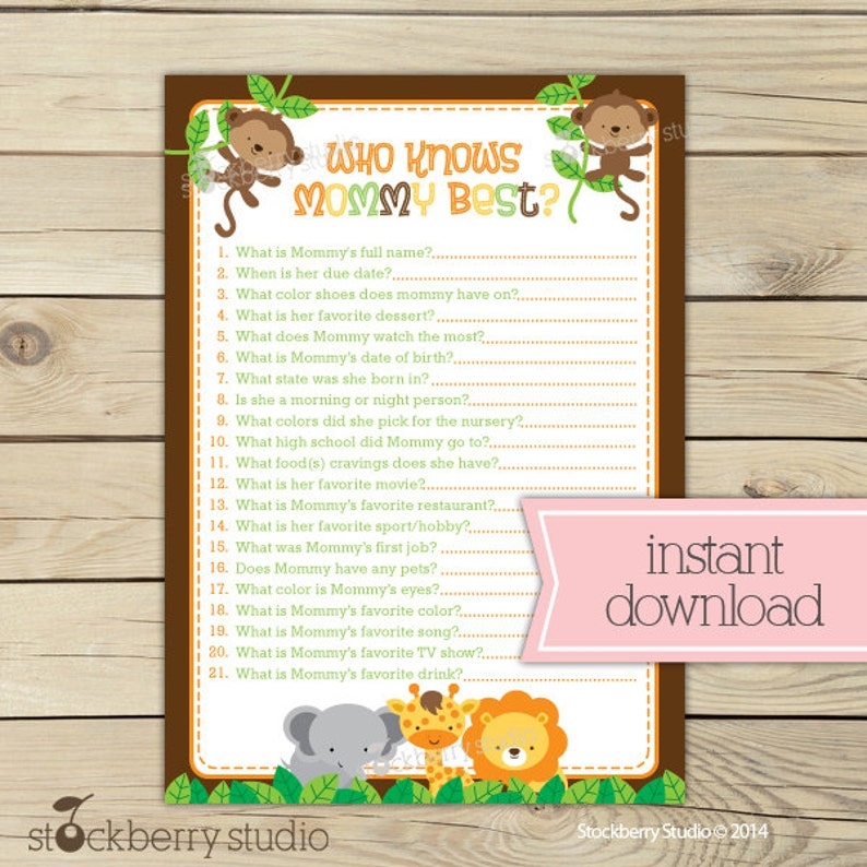 Jungle Baby Shower Who Knows Mommy Best Game Printable  image 0
