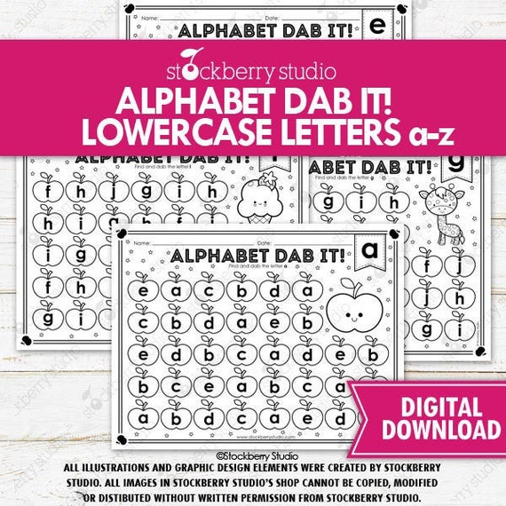 Alphabet Lowercase Dab It Printable Phonics Literacy ABC Worksheets  Alphabet Games Preschool Pre K Kindergarten By Stockberry Studio Catch My  Party
