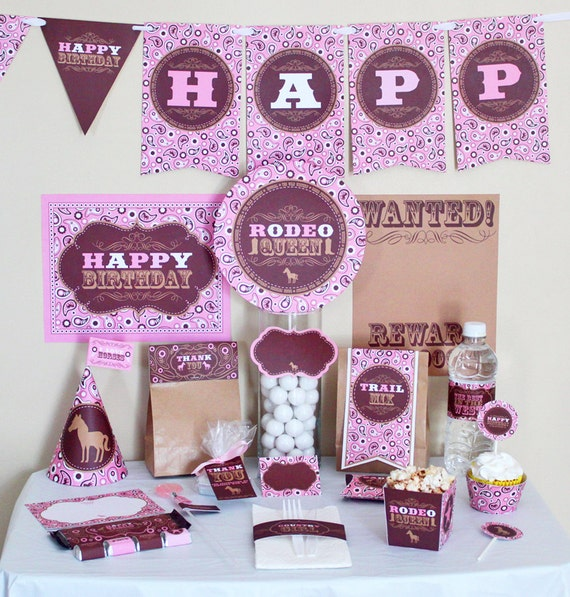 Cowgirl Birthday Party Decorations Printable