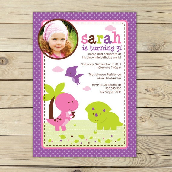 Girl Dinosaur Birthday Invitation Printable