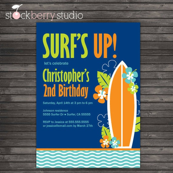 Surf Birthday Invitation Printable