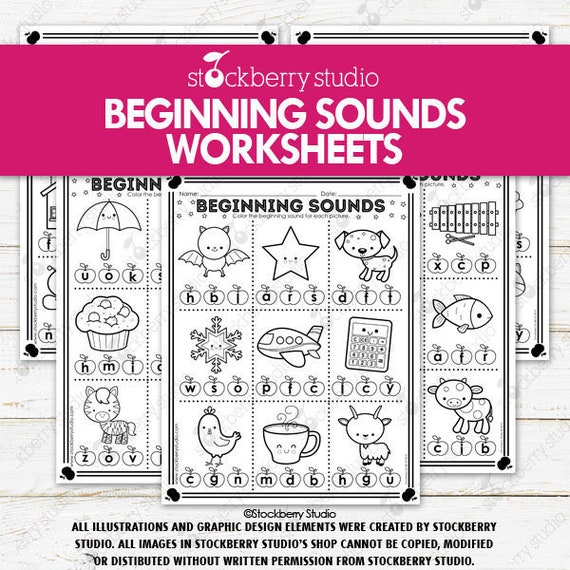 Beginning Sounds Worksheets Alphabet Worksheets Literacy Phonics Worksheet  Kindergarten 1st Grade Worksheets By Stockberry Studio Catch My Party