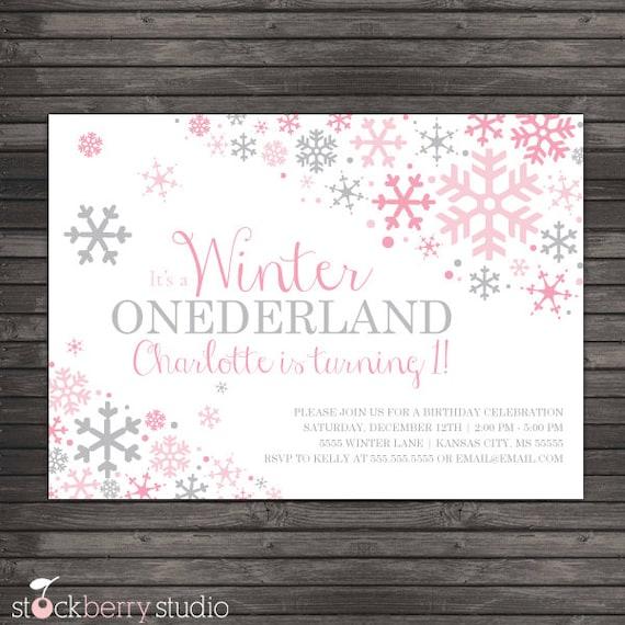 Winter Onederland Invitation Printable Pink Gray Winter Wonderland
