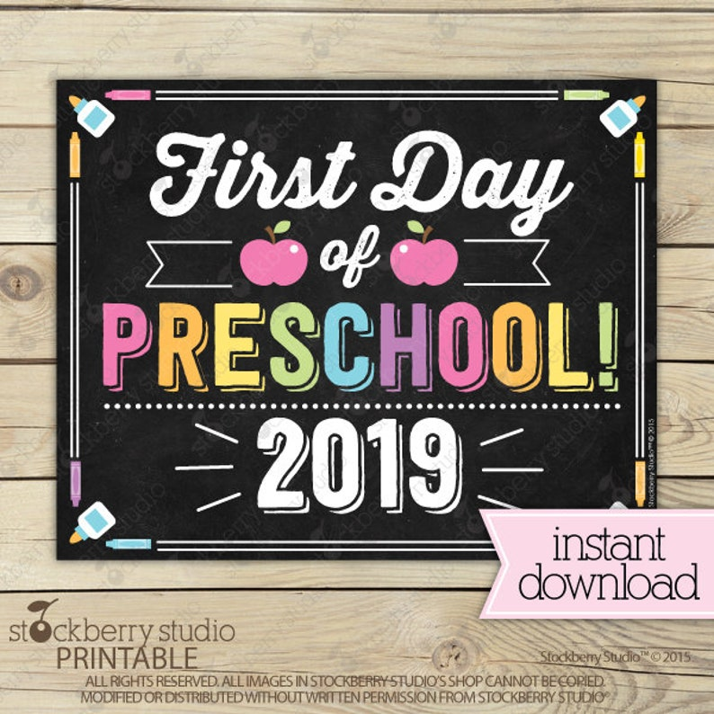 photograph regarding First Day of Preschool Printable titled Lady Initially Working day of Preschool Indicator - 1st Working day of Higher education Printable - 1st Working day of Higher education Indication - Image Prop - Chalkboard Indication - Quick Obtain