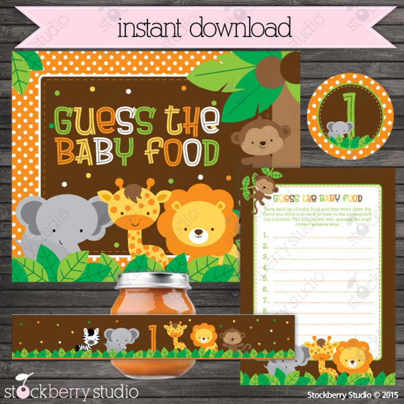 Safari Baby Shower Guess the Baby Food Game Printable  image 0