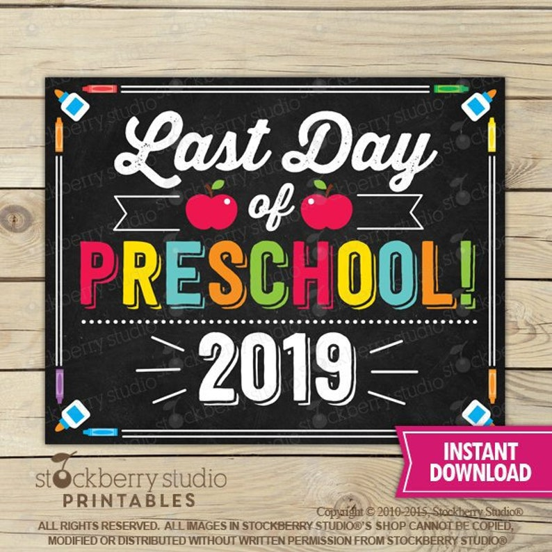picture relating to Last Day of Preschool Sign Printable named Final Working day of Preschool Indicator - Previous Working day of University Printable - Remaining Working day of College Indication - Image Props - Chalkboard Signal Fast Obtain