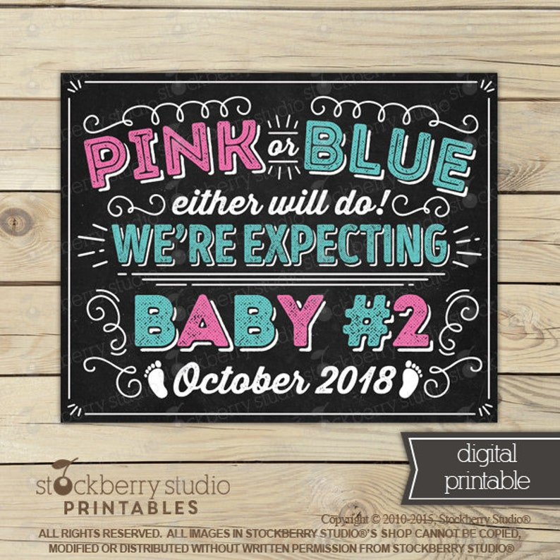 Pink or Blue Either Will Do Mommy/'s Expecting Baby Number 3 Sign Printable 3rd Child 3rd Pregnancy Sibling Pregnancy Announcement Sign