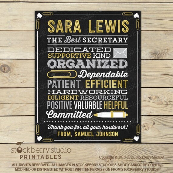 Secretary Gift - Administrative Assistant Chalkboard Sign ...