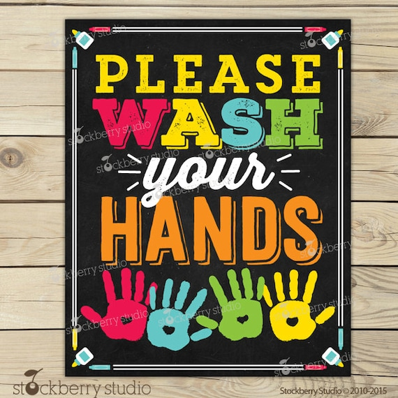 photo regarding Wash Hands Sign Printable titled Clean Your Fingers Signal Printable - Youngsters Toilet Artwork - Clean
