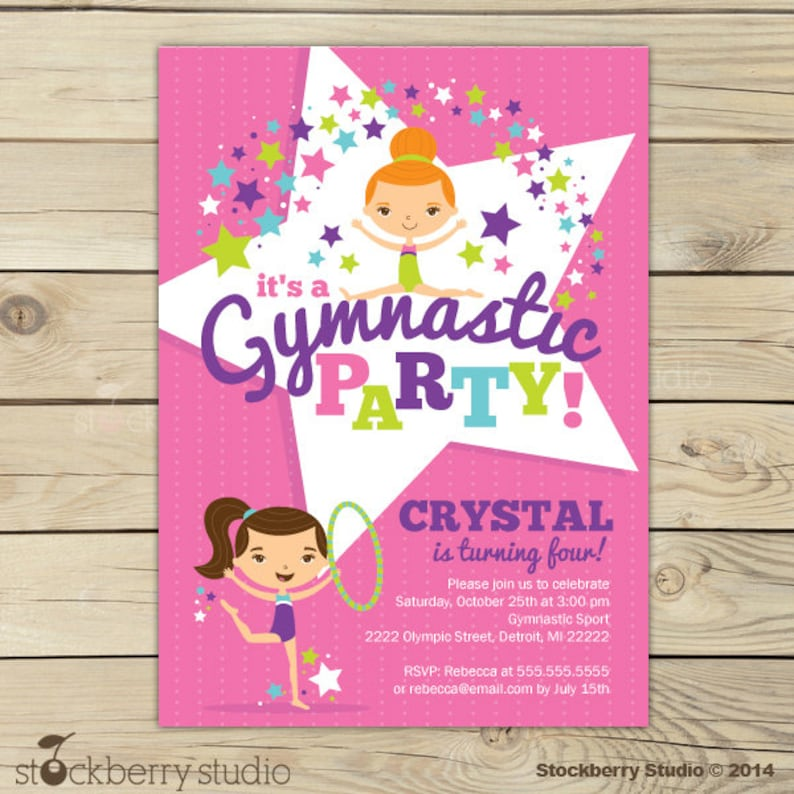 Gymnastics Birthday Invitation Printable