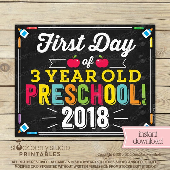 First Day of 3 year old Preschool Sign Printable 1st Day ...
