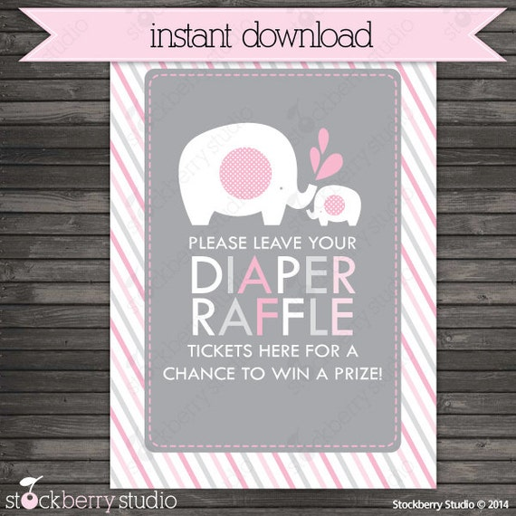 Pink And Gray Elephant Baby Shower Diaper Raffle Ticket Sign