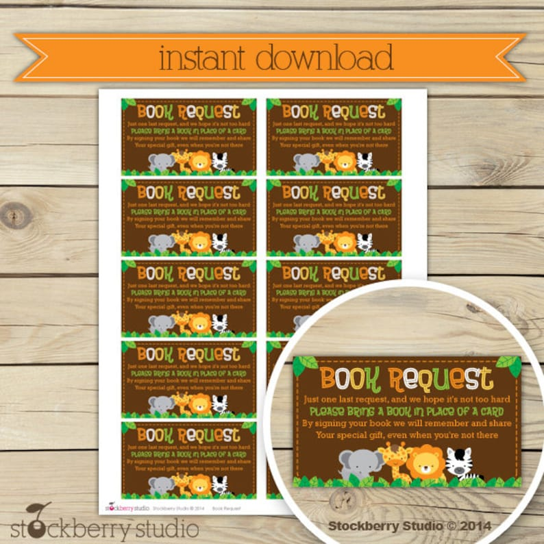 Safari Jungle Baby Shower Book Request Printable  Instant image 0