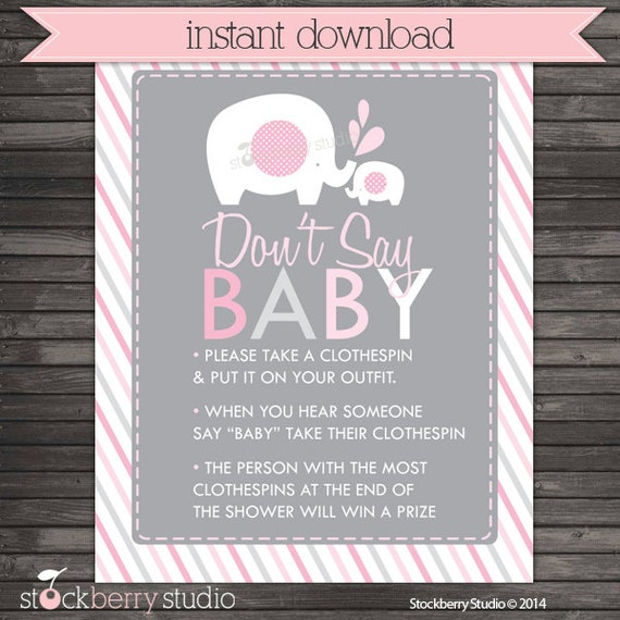 photo regarding Don T Say Baby Game Printable known as Elephant Kid Shower Dont Say Kid Recreation Printable - Purple