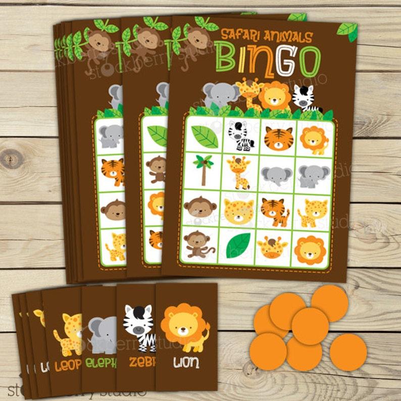 Safari Jungle Baby Shower Bingo Game  Birthday Party Games  image 1