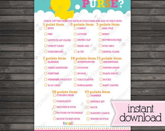 Girl Rubber Ducky Baby Shower What's in Your Purse Printable Game - Instant Download - Pink Baby Shower Game Activity