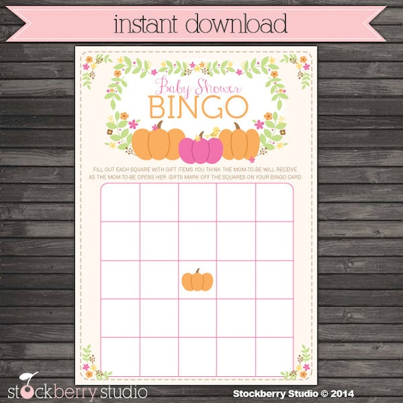 Girl Little Pumpkin Baby Shower Bingo Cards