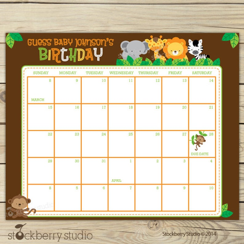 Safari Baby Shower Guess the Due Date Calendar Printable  Picture #1