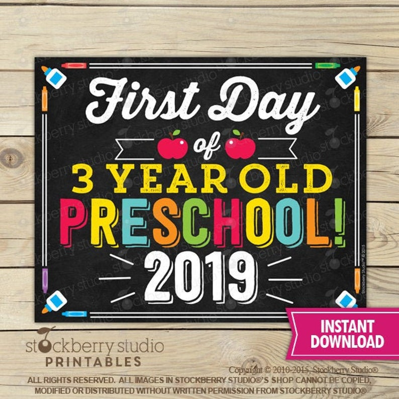 picture regarding First Day of Preschool Sign Printable titled Initial Working day of 3 calendar year outdated Preschool Indicator Printable - 1st Working day of Preschool - To start with Working day of Higher education Signal - Chalkboard Signal - Quick Down load