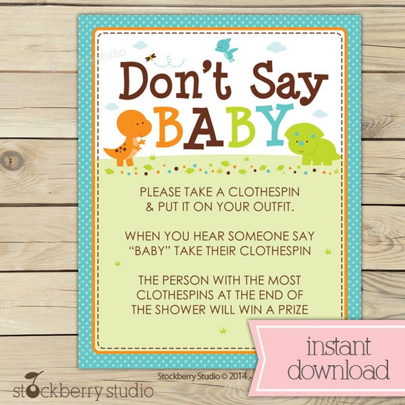 Dinosaur Baby Shower Don T Say Baby Game Printable Etsy