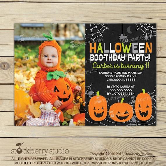 Halloween 1st Birthday Invitation Invites