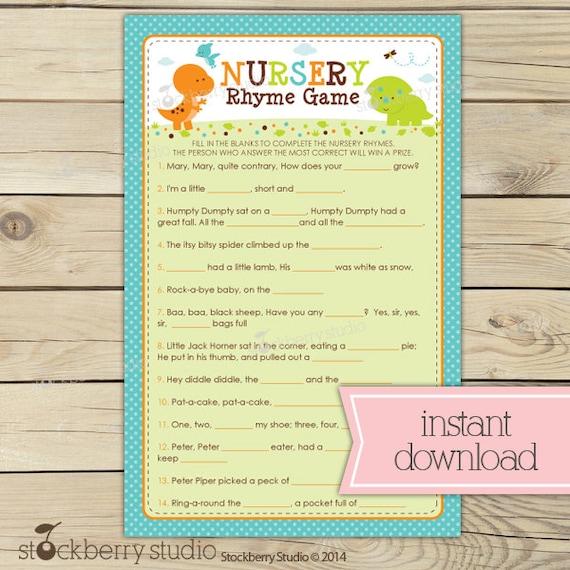 Items similar to Dinosaur Baby Shower Nursery Rhyme Quiz ...