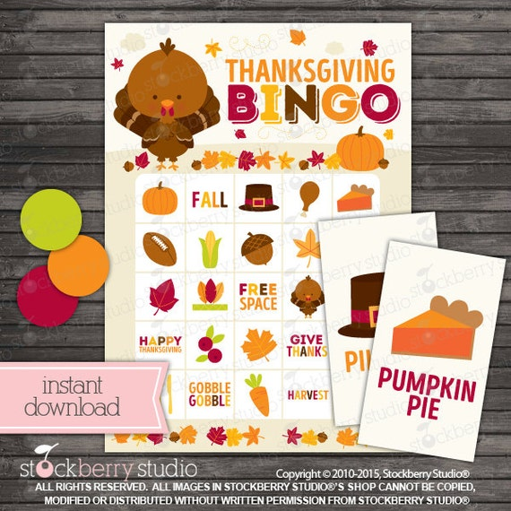 Thanksgiving Bingo Cards Printable Games