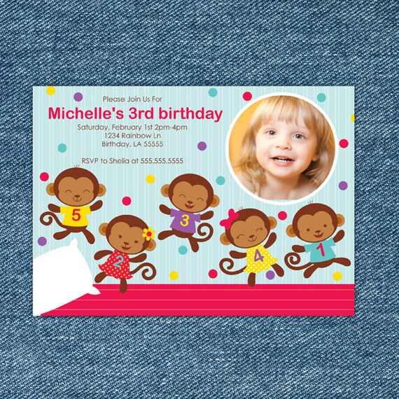 Five Little Monkeys Jumping On The Bed Birthday Invitation
