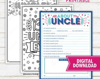 All About My Uncle Father's Day Questionnaire Coloring Page Survey Uncle Fathers Day Printable Father's Day Gift Instant Download