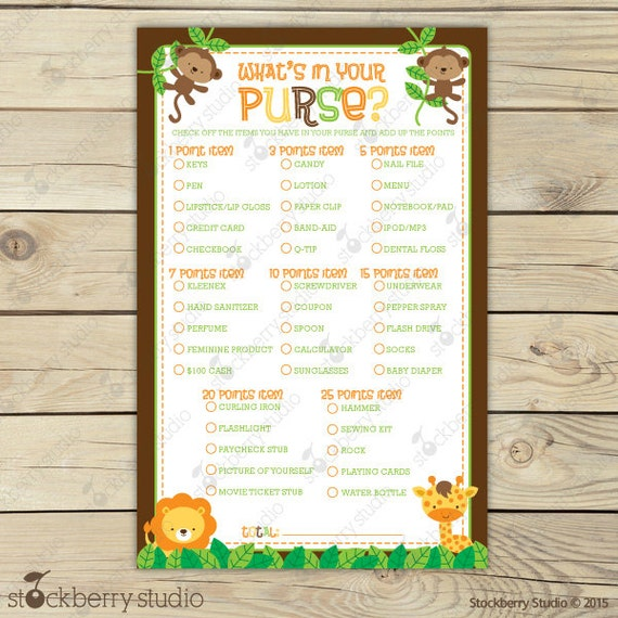 Safari Baby Shower What S In Your Purse Game Jungle Baby Etsy