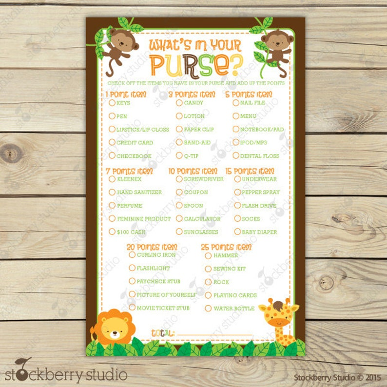 Safari Baby Shower What's In Your Purse Game  Jungle Baby image 0