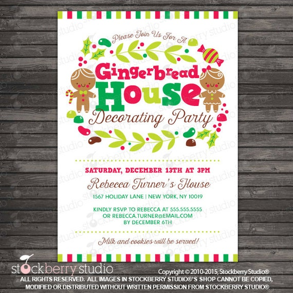 Gingerbread House Party Invitation Printable Gingerbread Etsy