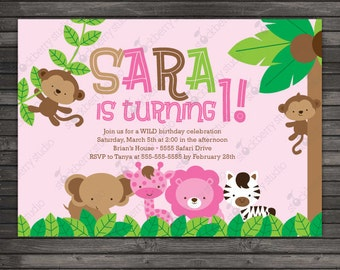 Girl Safari Birthday Invitation Printable - Girl Jungle Birthday Invitation - Pink Safari Invite - Girl 1st Birthday Invitation