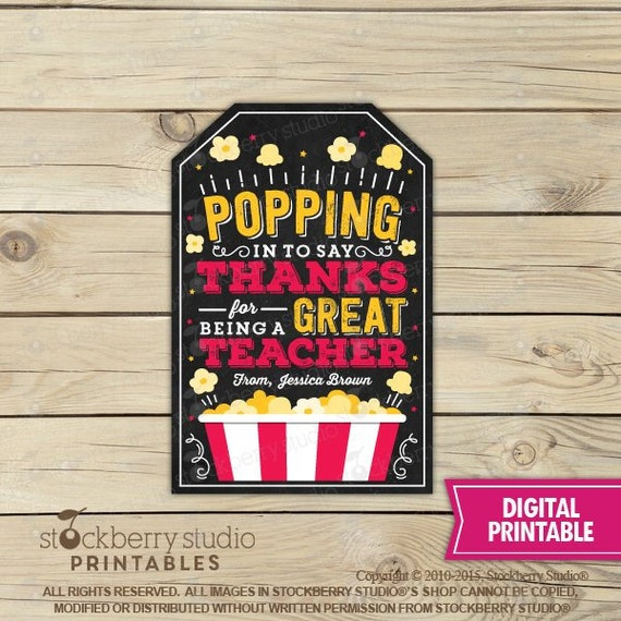 photo about Popcorn Teacher Appreciation Printable named Popcorn Thank By yourself Tags - Trainer Appreciation 7 days Reward