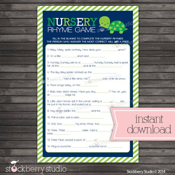 Turtle Baby Shower Nursery Rhyme Game Navy Blue And Green Baby